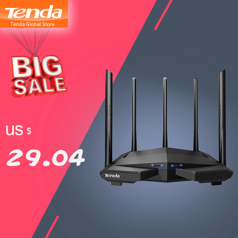 New Tenda AC11 Gigabit Dual-Band AC1200 Wireless Router Wifi Repeater with 5*6dBi High Gain Antennas Wider Coverage, Easy setup sticker