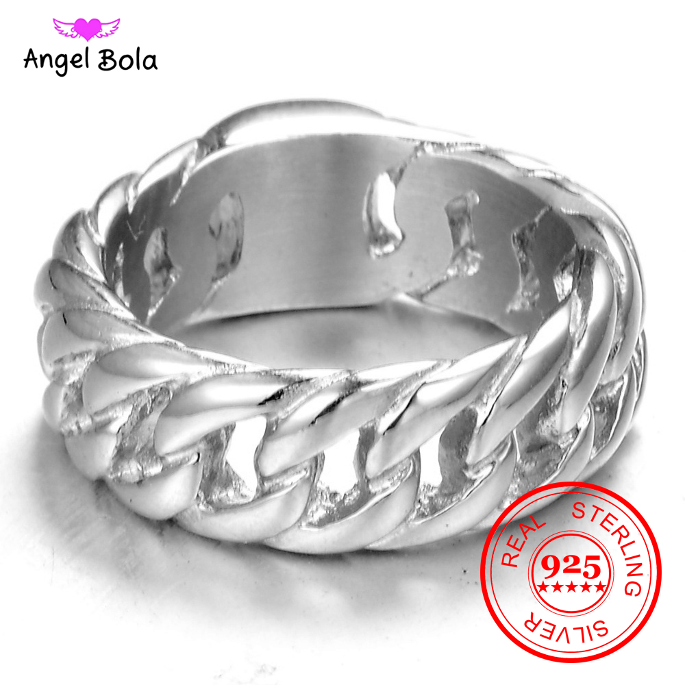 Hot Sale Finger Art Retro S925 Sterling Silver Buddha Ring Punk Biker Jewelry Wide Chain Ring Drop Shipping