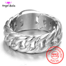 Ring Punk Biker-Jewelry Buddha Sterling-Silver S925 Finger-Art Wide-Chain Retro Hot-Sale