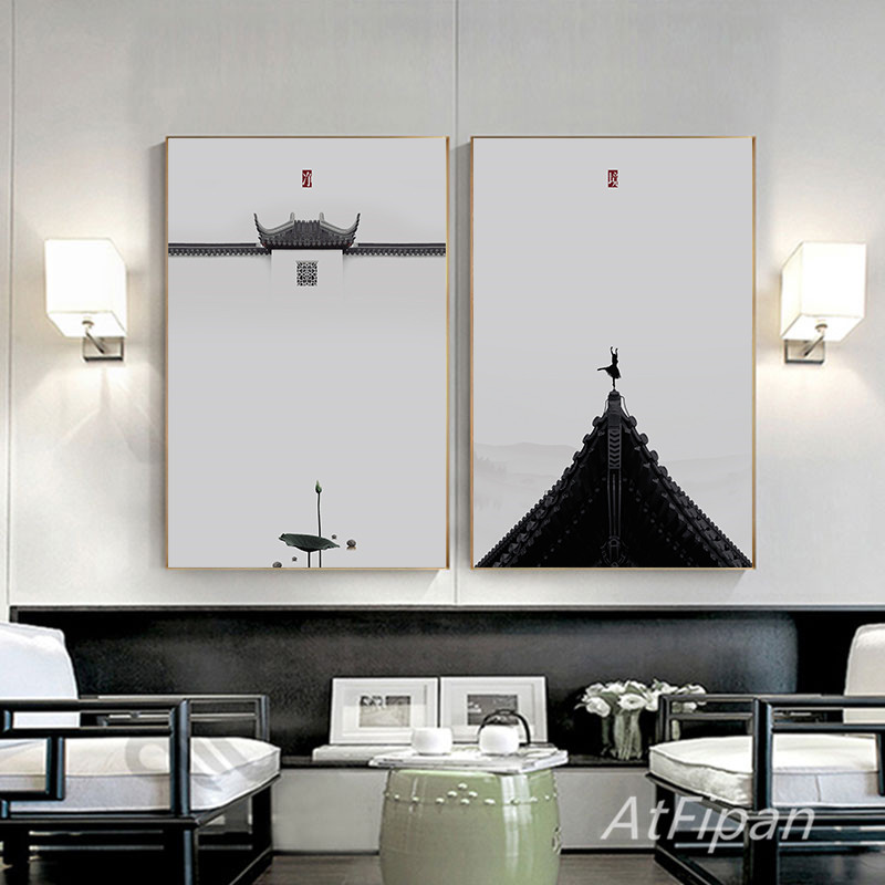 >New Chinese Style Minimalist Zen Traditional Style Mood Concept White Wall For <font><b>Office</b></font> <font><b>Study</b></font> <font><b>Living</b></font> Room Home Decoration painting