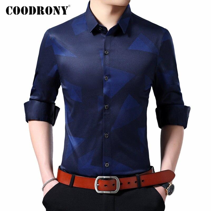 COODRONY Brand Men Shirt Long Sleeve Shirt Men Clothes Streetwear Fashion Pattern Business Casual Shirts Camisa Masculina 96106