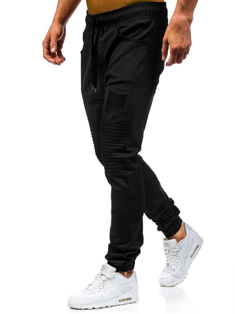 Men Sweatpants Casual Pants Slim fit Drawstring Sweatpants Slacks Elastic Waist Patchwork Pleated Ultrathin Male Trousers Jogger 14