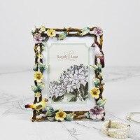 7 Inch Vintage enamel Photo Frame Bird Flower Metal Frame Portrait Holder Gift for Wedding Friends Home Decoration