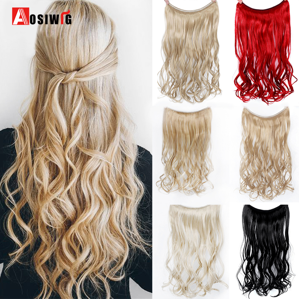 AOSIWIG Synthetic Long Straight Invisible Wire No Clip In Hair Extensions For Women Fish Line Hairpieces Silky Hairpiece