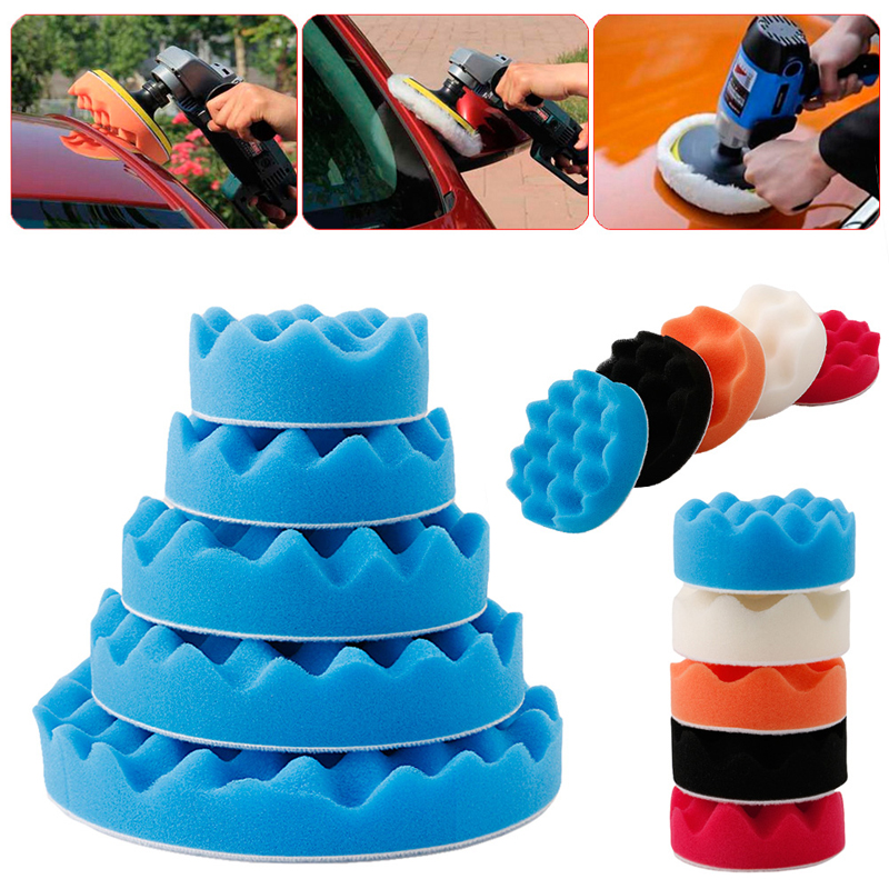 5Pcs/set 3/4/6/7 Inch Sponge Buffer Waffle Polishing Foam Buffing Pads Set For Car Polisher Auto Maintenance Kit Hot Dropship
