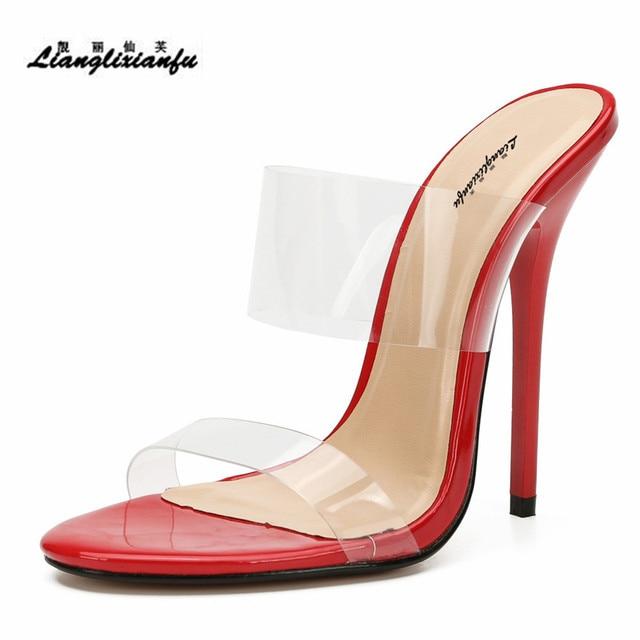 LLXF Hausschuhe zapatos mujer Sommer flip flops Braut Stiletto 13cm Dünne High Heels Sandalen transparent schuhe frau Klassische Pumps