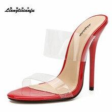 LLXF Sandalias de tacón alto para mujer fino y transparente, zapatos de verano, calzado de fiesta, tacones de 13cm, estilo clásico