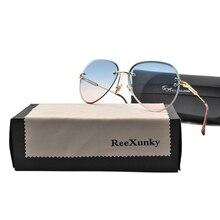 Fashion Luxury Frameless Designer Sunglasses Women Adult Glasses Classic Pilot Gradient Famale Shades Visor Oculos