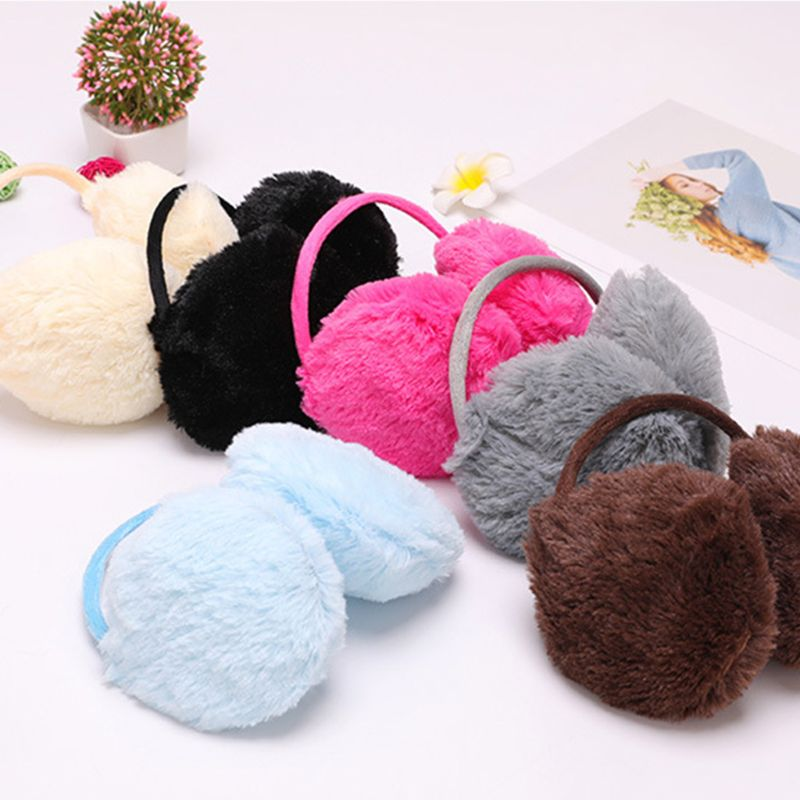 Women Girls Winter Plush Earmuffs Sweet Solid Candy Color Earflap Elastic Stretchy Thin Headband Ear Cover Warmer Random Color