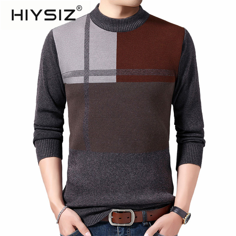 HIYSIZ Brand 2019 Casual plaid knitted casual mensweater men pullover warm striped sweaters winter H3015