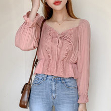 Короткая кружевная блузка shintimes корейская мода приталенная