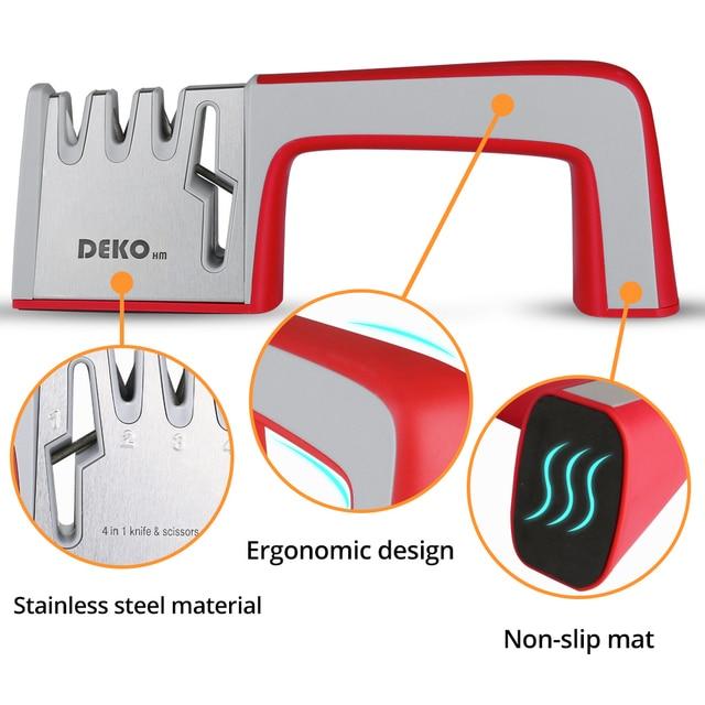 DEKO 4 In 1 Stainless Steel Scissors Tools Diamond Sharpening Whetstone Stone Non-Slip Knife Sharpener 1