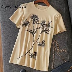 Ziwwshaoyu Designer Marke Sommer frauen T-shirt Luxuriöse Diamant Werk Druck Kurzarm Freizeit Top T-shirt