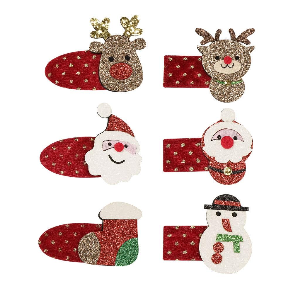 6Pcs/Lot Mini Cute Christmas Hair Clips Festival Party Glitter Santa Claus Elk Snowman BB Barrettes