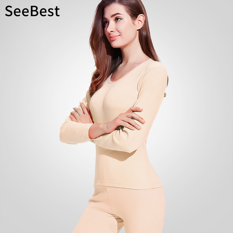 SeeBest Women Long Johns Thermal Underwear Set Winter Keep Warm Suit Female Merino Thick Thermo Kleding Dames 100% Cotton Mom