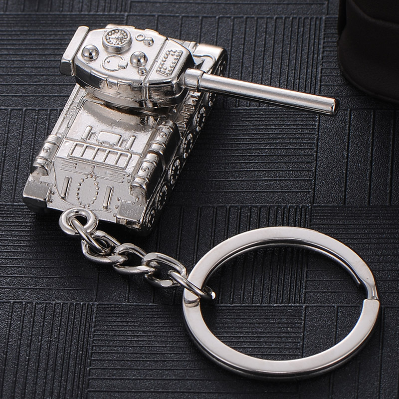2020 New Tank Car Keychain World of Tank Waist Hanging Buckle Boys Gift Male Women Key chains Punk Man Car Key Ring Wholesale image