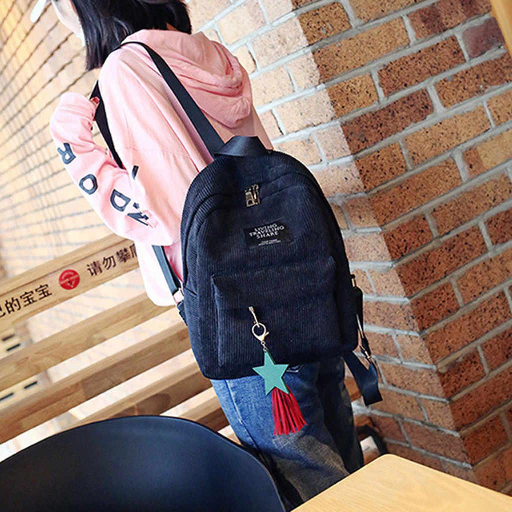 Sırt çantası kadife schoolbag kadın saf renk okul çantası okul Vintage kadınlar genç kızlar seyahat kadınsı sırt çantaları # L10