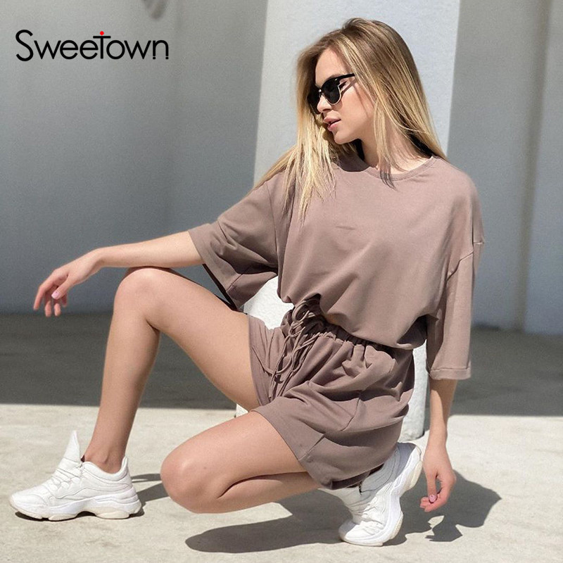 Sweetown Casual Home Fashion Women Two Pieces Sets Short Sleeve Sporty Active Wear Leisure Outfit Summer Top And Shorts Set