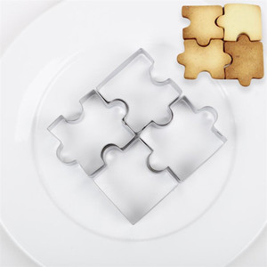 4Pcs 3D Stainless Steel Cookie Puzzle Shape Cookie Cutters Toast Cutter DIY Biscuit Dessert Bakeware Cake Fondant Mold Tools