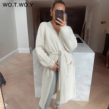 WOTWOY 2020 Belt Knitted Long Cardigans Women Autumn Winter Casual Basic Sweater Woman Long Sleeve Button Solid Sweaters Female