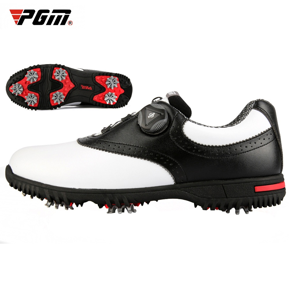 PGM 2020 Mens Waterproof Golf Shoes Rotating Buckle Shoeslace Nonb-slip Nail Tennis Shoes Leather Breathable Sneakers D0843