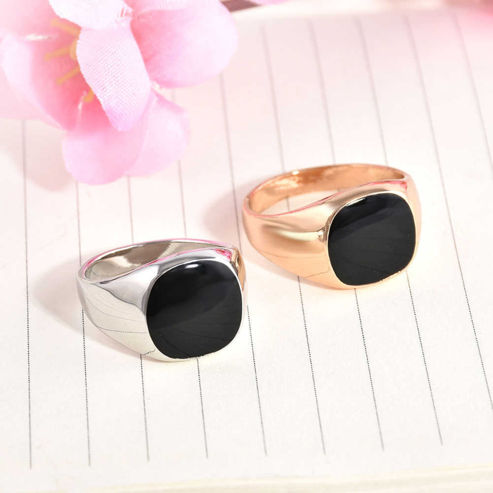 Men's Simple Round Band Ring Fashion Polished Seal Ring for Women Stainless steel Signet Rings Black Jewelry
