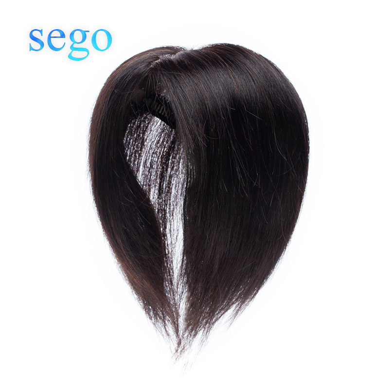 SEGO 15x15cm Human Hair Clip In Hair Toppers For Women Non-Remy Mono Silk Base Density 140% Top Hairpiece 45g/pc