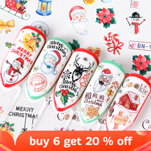 Mix Designs Nail Sticker Christmas Snowflake Flower Water Transfer Mix Cartoon Elk Ring Bell DIY Foil Wraps Tips SABN1009 1020