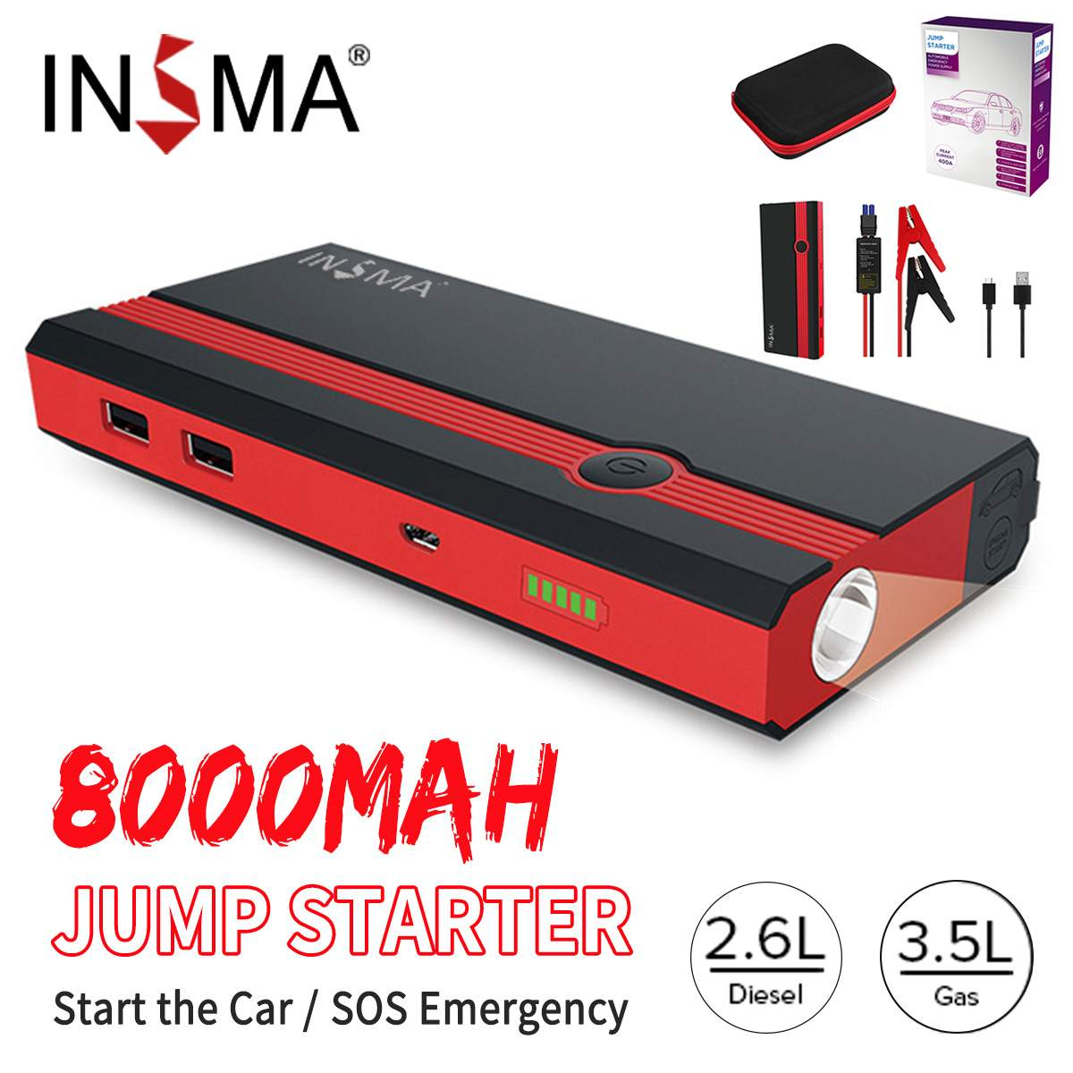 INSMA 99900mAh 12V <font><b>Car</b></font> Jump Starter Start Booster Portable USB <font><b>Charger</b></font> Power Bank Pack Emergency <font><b>Battery</b></font> Jumper Survival Kit image