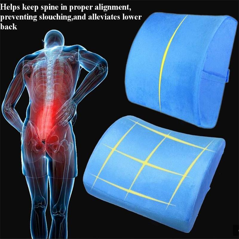 Gel Soft Memory Foam Lumbar Support Back Massager Waist Cushion Pillow Chair Relieve Pain In Car Seat Pillow Home Office