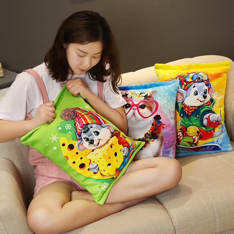 Criativo realista petiscos pelúcia travesseiro simulação gato
