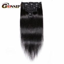 Chismes pelo brasileño recto Clip en extensiones de cabello humano Color Natural 8 unids/set 120G 28 pulgadas cabello Remy envío gratis