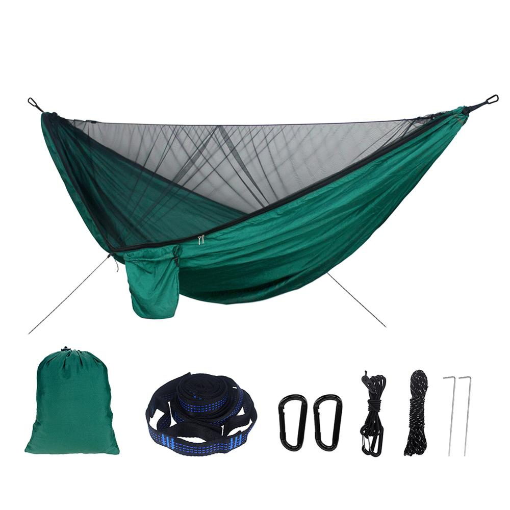 Portable Camping Hammocks Outdoor Backpacking Survival Hunting Camping Automatic Quick Opening Sleeping Bed Hammock With Straps