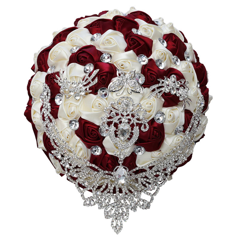 WifeLai-A In Stock Tassel Diamond Brooches White Silk Rose Wedding Flowers Bridal Bouquets PSilver Rhinestone,Accept Custom W287