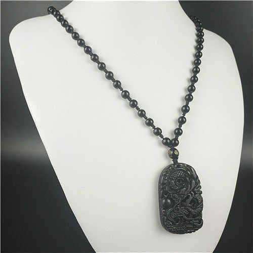 Bersertifikat Cina Hitam Hijau Jade Dragon Liontin Kalung Manik-manik Pesona Perhiasan Obsidian Diukir Amulet Hadiah untuk Pria