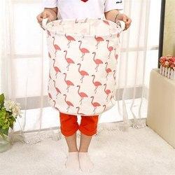41 × 30 センチメートルフラミンゴ大容量リネン洗濯バスケットバッグ汚れ衣類収納バレルホーム雑貨おもちゃ