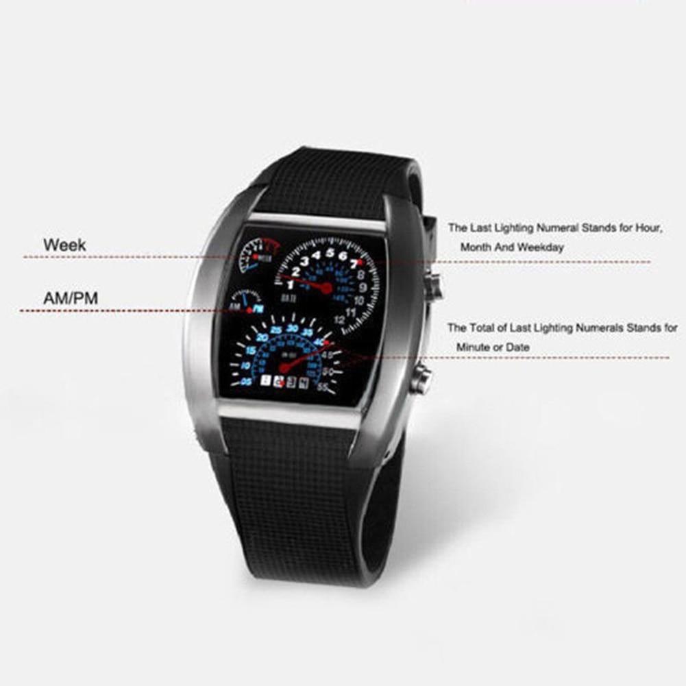 Men Fashion LED Sport Rubber Band Digital Week Date Dashboard Pattern Dial Watch Mas-culino Fashion Men's Watch Large Dial Milit 6