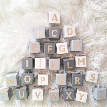 1pc angielskie litery drewniana zabawka dla dziecka stały przedszkole alfabet słowo imię dziecka bloki urodziny prezent tanie i dobre opinie CN (pochodzenie)
