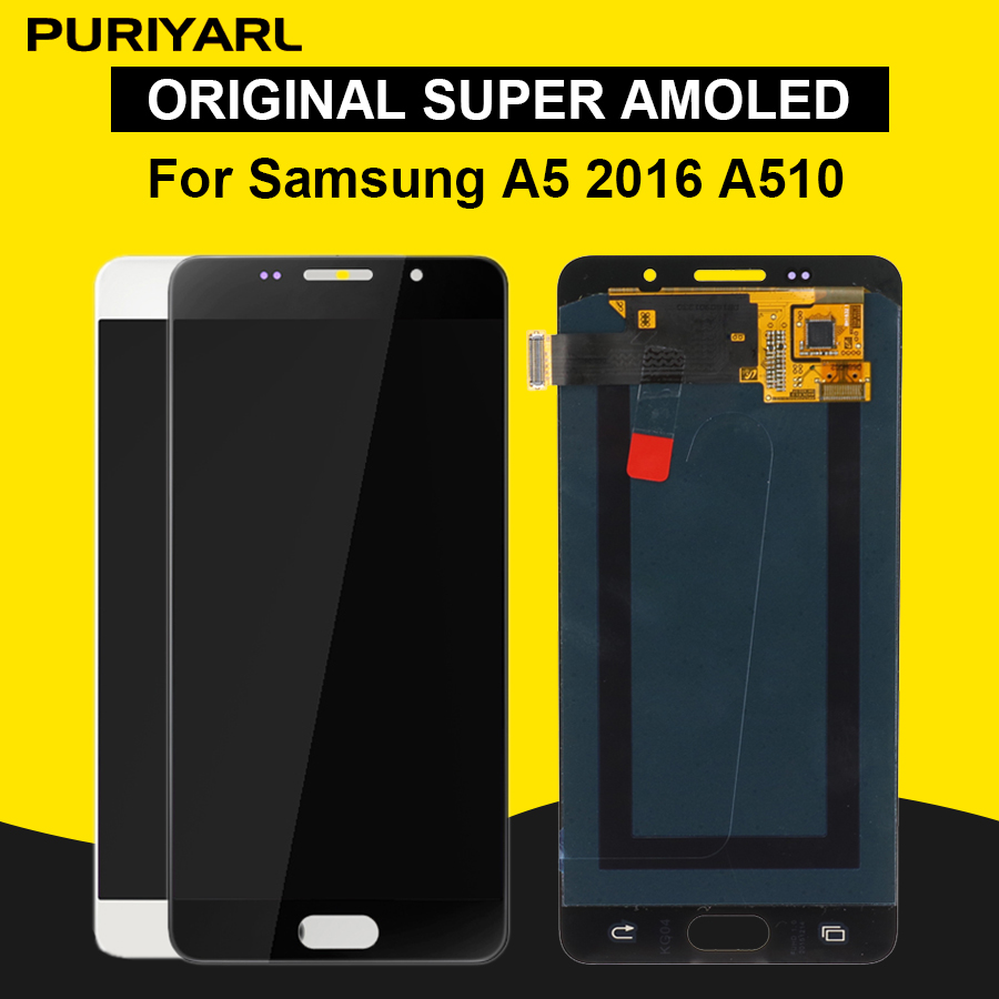 Original Super Amoled Screen For <font><b>Samsung</b></font> Galaxy A5 2016 <font><b>A510F</b></font> A510M A510FD A5100 LCD <font><b>Display</b></font> Touch Screen Digitizer Replacement image