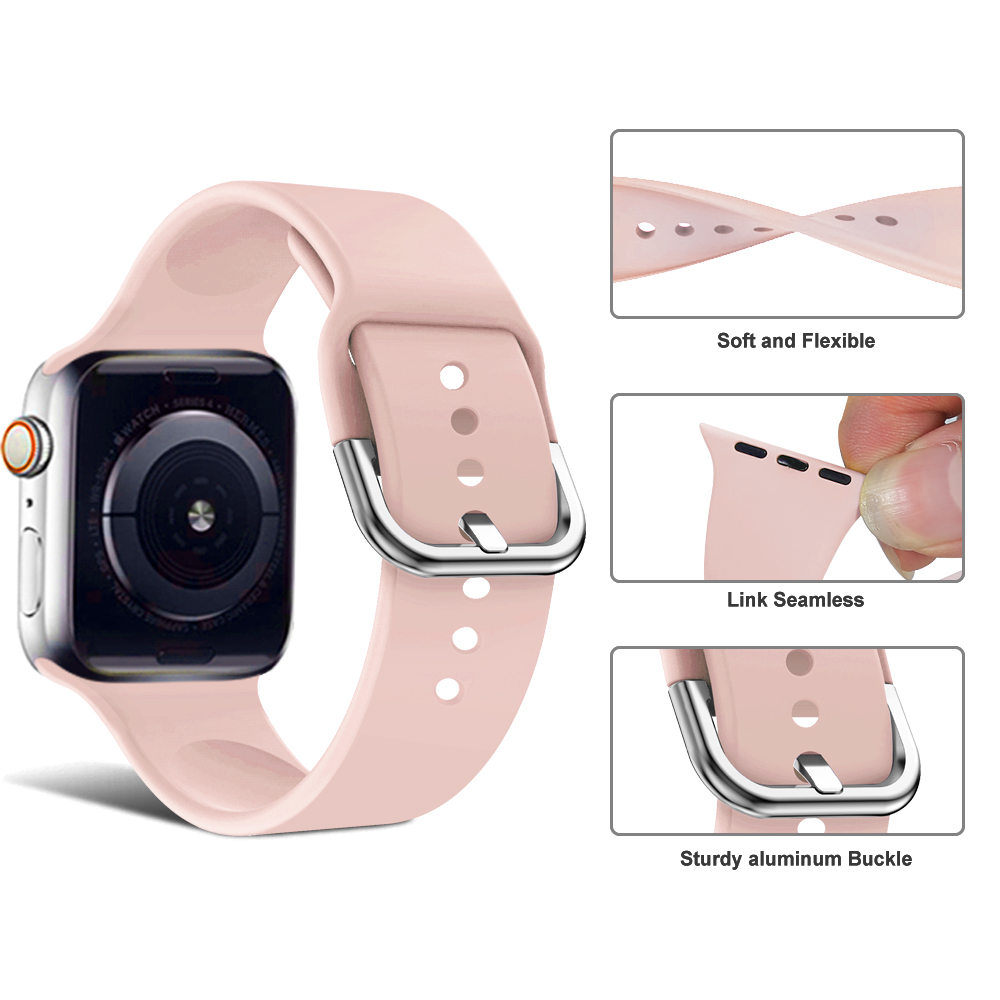 Suitable for Apple 38mm 42mm iWatch 4 44mm 40mm U shaped buckle buckle sports silicone watch Apple 4 accessories in Watchbands from Watches