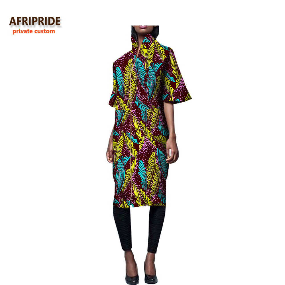 African print dresses for women half flare sleeve zipper front fly knee-length casual women wax cotton dress  AFRIPRIDE A7225156