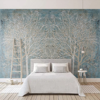 Custom 3D Photo Wallpaper Mural Modern Blue Woods Nordic Style Creative Living Room Bedroom Background Wall Art Decoration Paper custom 3d wall murals wallpaper modern art mural living room bedroom restaurant wall decoration wolf photo wall paper painting