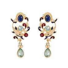 2019 Fashion Enamel Crystal Water Drop Earrings For Women Accessories