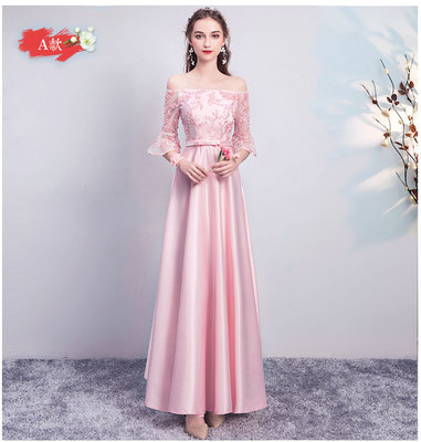 Boat Neck Pink Bridesmaid Dresses Half Sleeves Satin Long Dress For Wedding Party For Woman Sexy Prom Long Prom Dress Champagne