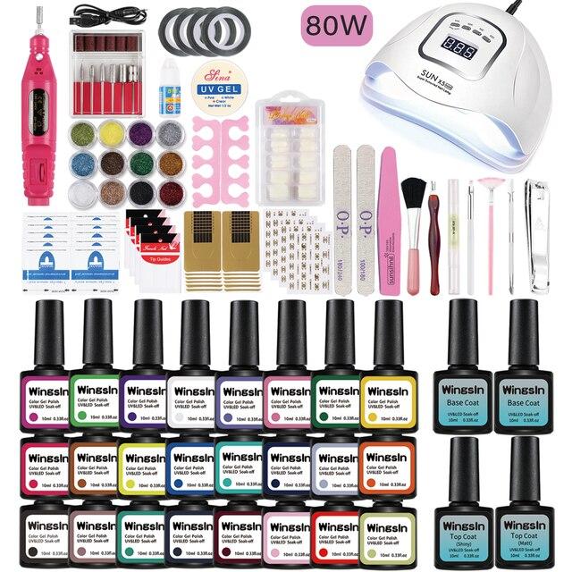 Nail Set UV LED Lamp 80W 54W Dryer With 24/16/8pcs Nail Gel Polish Kit Soak Off Manicure Nail Tools Set 1