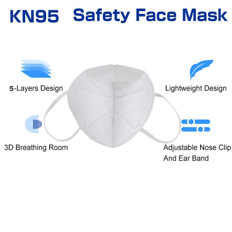50 шт. KN95 маски 5 слоев фильтр пыли рот PM2.5 FFP2 уход за кожей лица маска против гриппа средства индивидуальной защиты маска для защиты Быстрая доставка