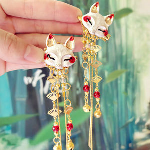 Fox Rabbit Hairpin Tassels Hair Clip Cosplay for Kimono Hanfu Handwork XB Sa hair accessories cute girl Daily Handwork New(China)