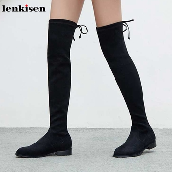 Lenkisen hot fashion star streetwear stretch flock low heels round toe lace up winter keep warm women over-the-knee boots L01