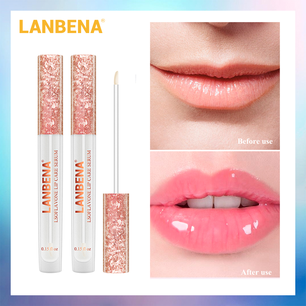 LANBENA Lsoflavone Lip Care Serum Lip Mask Lip Plumper Increase Lip Elasticity Reduce Fine Lines Repairing Moisturizing 2PCS