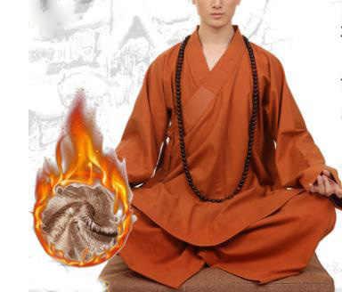 Unisex Winter Warm Katoen & Linnen Shaolin Monnik Kung Fu Pakken Zen Arhat Martial Arts Uniformen Lag Meditatie Kleding Blauw /Grijs